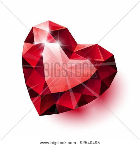 Shiny isolated red ruby heart shape with shadow on white backgro
