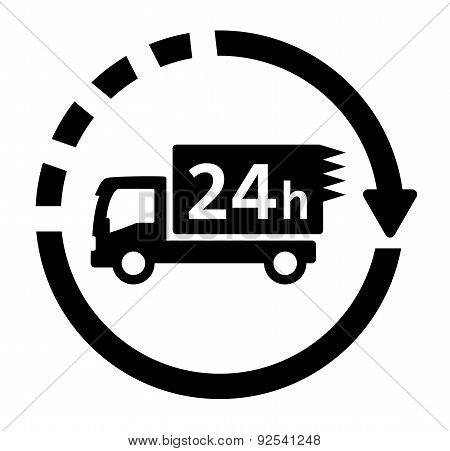 24 hour delivery symbol with truck