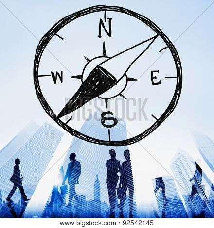 Compass Longitude Latitude Navigation Direction Adventure Concept