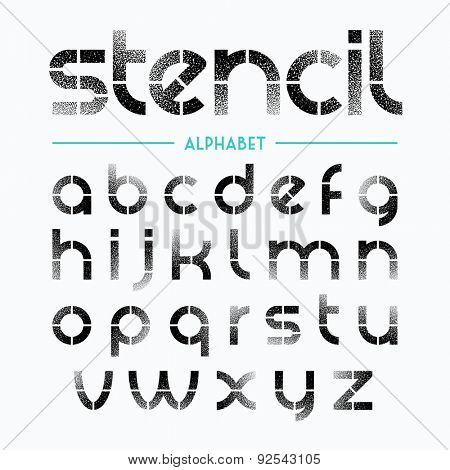 Spray painted stencil alphabet letters. Vector.