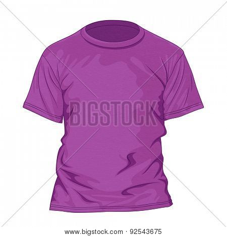 Purple t-shirt with texture. Design template. Vector illustration
