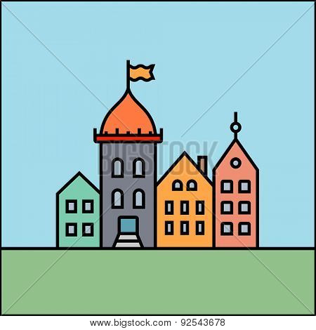 Old European town city castle icon. Vector city skyline and buildings