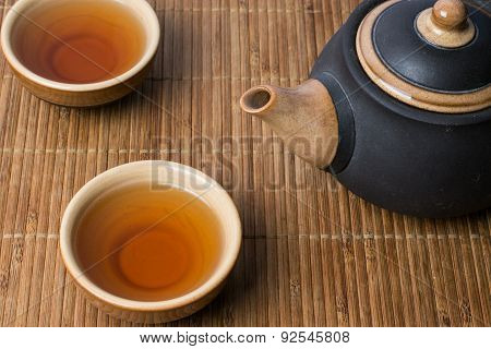 Traditional chinese tea serving set up