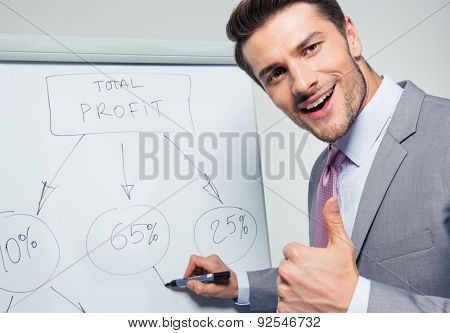 Happy businessman writing on a flipchart and showing thumb up. Looking at camera