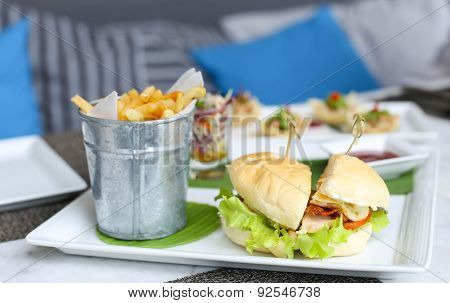 Burgers With French Fried Or Chips