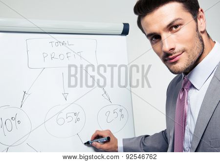 Handsome businessman writing on a flipchart and looking at camera