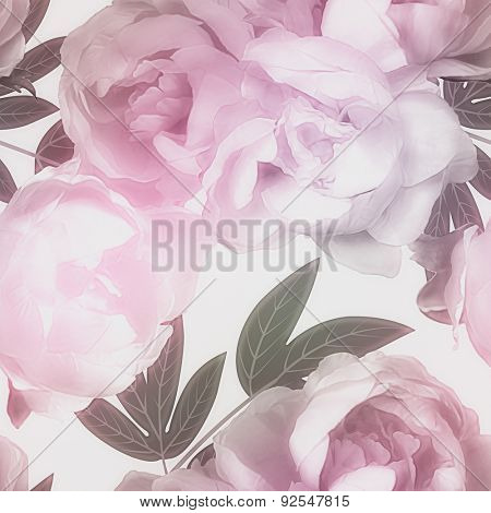 art vintage watercolor blurred floral seamless pattern with pink, purple and lilac peonies isolated on white background