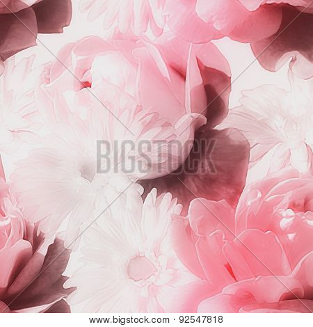 art monochrome  watercolor blurred vintage floral seamless pattern with red and white roses isolated on white background