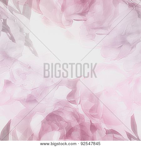 art vintage monochrome watercolor blurred floral seamless pattern with pink, purple and lilac peonies isolated on white background