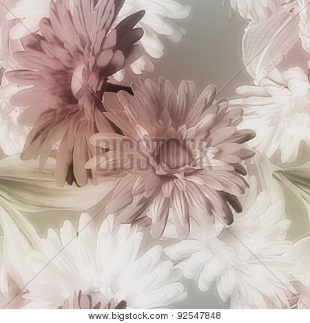 art monochrome golden watercolor blurred vintage floral seamless pattern with purple brown and white gerberas isolated on dark grey background
