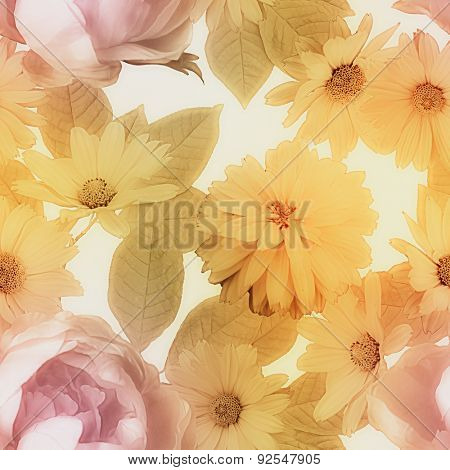 art vintage colorful graphic and watercolor blurred floral seamless pattern with purple peonies and golden asters isolated on white background