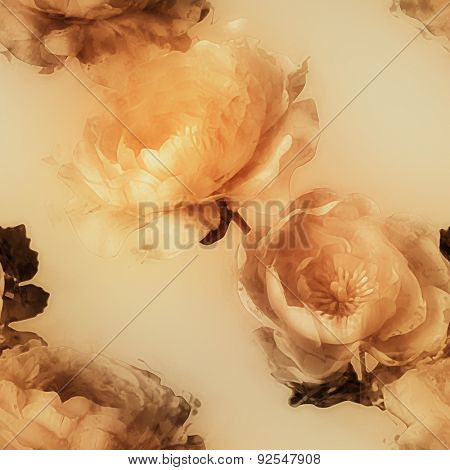 art vintage monochrome watercolor blurred floral seamless pattern  with golden peonies on light gold background