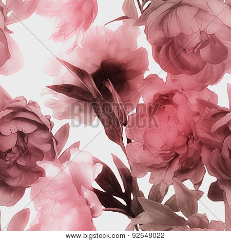 art vintage monochrome watercolor blurred floral seamless pattern with red peonies isolated on white background