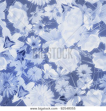 art vintage monochrome watercolor blurred floral seamless pattern with blue and white roses, asters, lilies and gerberas isolated on dark blue background