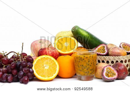 Group Of Fruits And Vegetables Isolated
