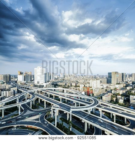 Elevated overpass and skyline