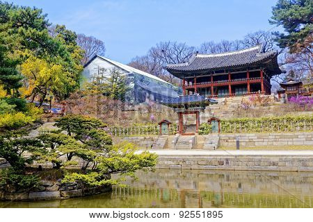 Royal library inside the secret garden of Changdeokgung Palace in Seoul, South Korea.