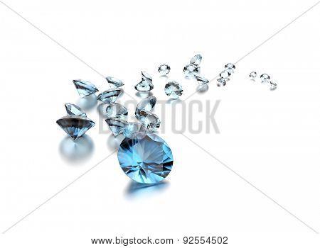 Aquamarine on white. Jewelry background