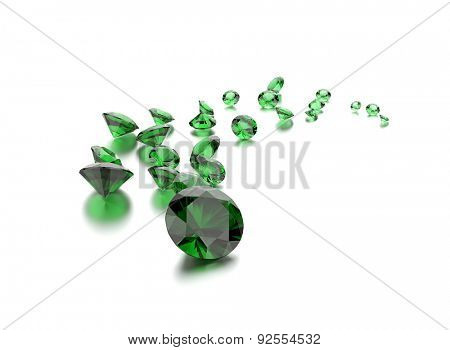 Emerald on white . Jewelry background