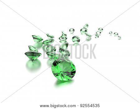 Emerald on white . Jewelry background
