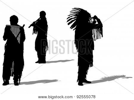 Silhouettes of Indian musical instruments on a white background