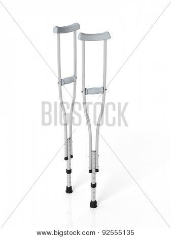 Metallic crutches isolated on white background