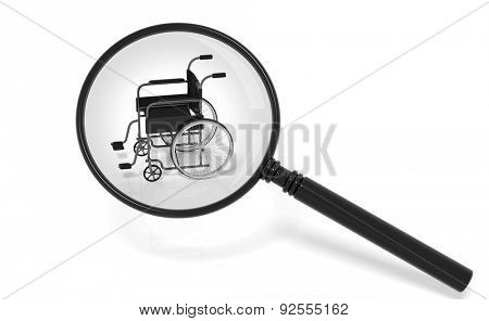 Black disability wheelchair under magnifier isolated on white