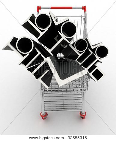 Metal profiles in your shopping cart. Conception of trading. 3d illustration.