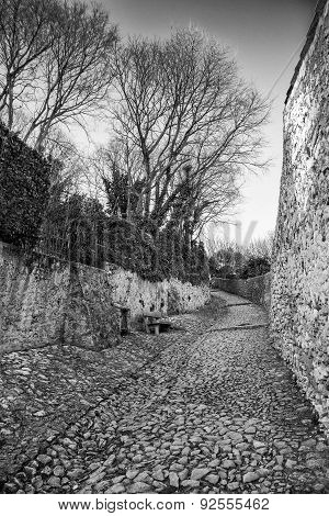 Ancient Medieval Road That Leads From The Village Of Soave To The Castle On The Hill