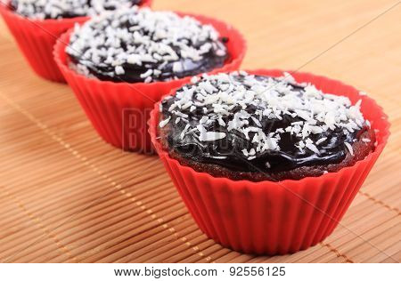 Fresh Baked Chocolate Muffins With Desiccated Coconut