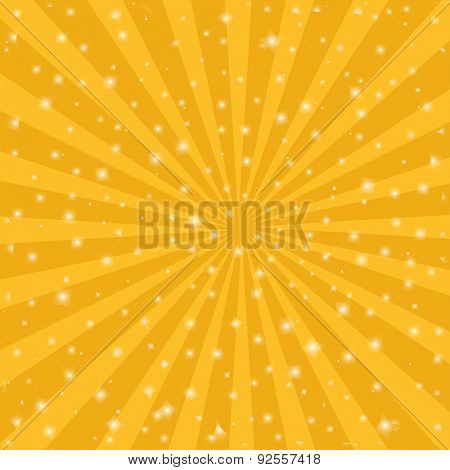 Orange sun vintage background.  Rays star burst vector illustration