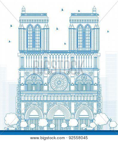 Outline Notre Dame Cathedral - Paris. Vector illustration