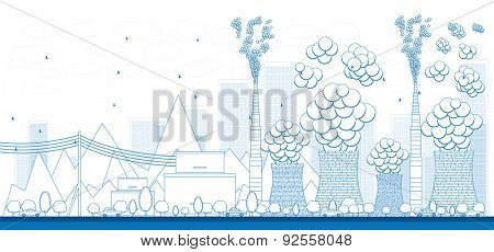 Outline Coal power plant or factory pipes with smoke. Vector Illustration