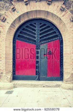 Arched medieval door - vintage photo