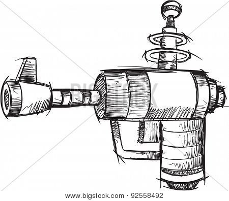 Doodle Sketch Gun Vector Illustration Art