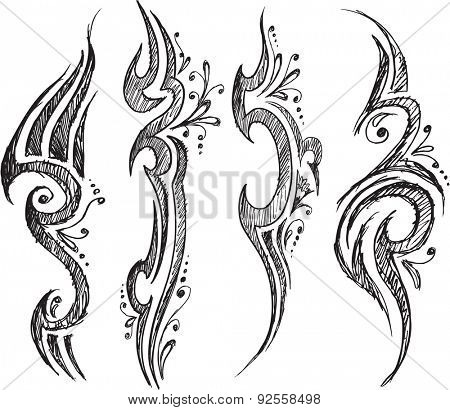 Tattoo Sketch Doodles Vector Illustration Designs