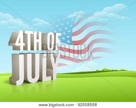 3D text 4th of July with national flag waving on cloudy nature background for American Independence Day celebration.