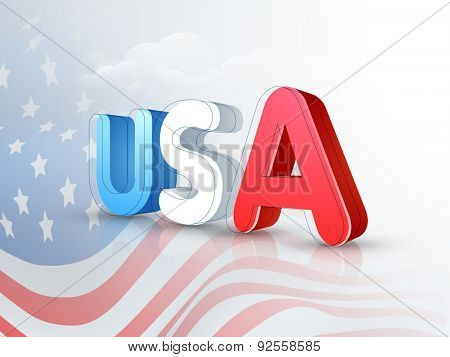 3D text USA on national flag waves background for 4th of July, American Independence Day celebration.