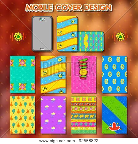 illustration of design in Indian kitsch style mobile cover template