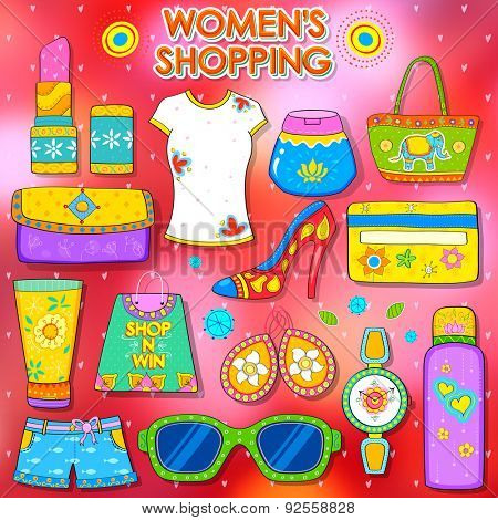 illustration of shopping concept in Indian kitsch style