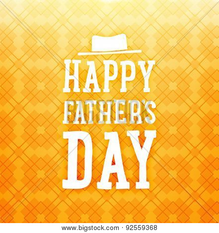 Happy Father's Day Card with Orange Background with Pattern. Retro Style Design