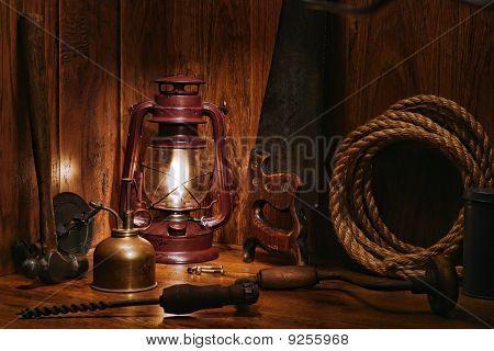 Antique Carpenter Wood Workshop  With Old Tools