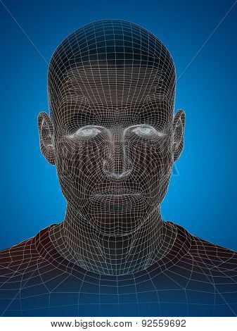 Concept or conceptual 3D wireframe young human male or man face or head on blue background