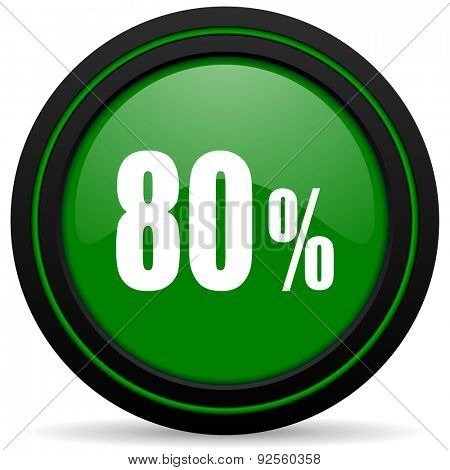 80 percent green icon sale sign