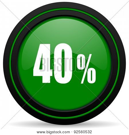 40 percent green icon sale sign