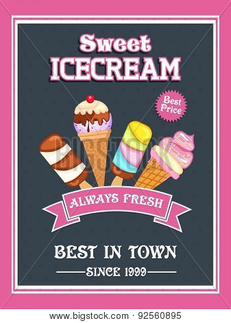 Vintage price menu card design for Sweet Ice Cream with different flavours.
