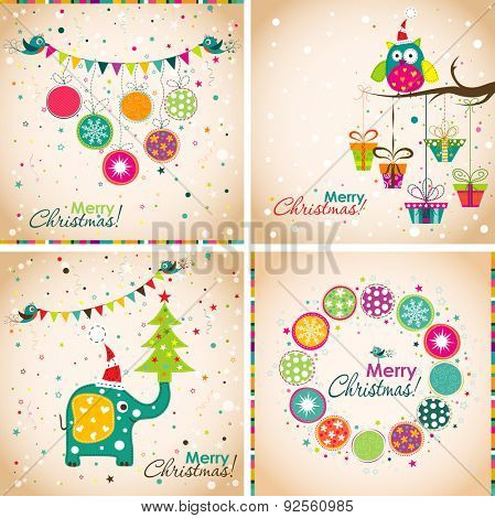Christmas greeting with an elephant, owl, Christmas balls, Christmas tree