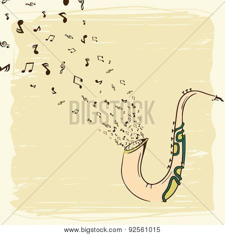 Vintage stylish background with musical notes coming out from saxophone.