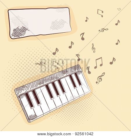 Vintage abstract background with piano and musical notes.