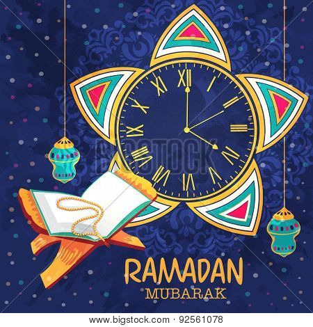 Creative clock indicating time of prayers with hanging lanterns, open Quaran Shareef and rosary on beautiful floral pattern decorated blue background for Ramadan Mubarak celebration.